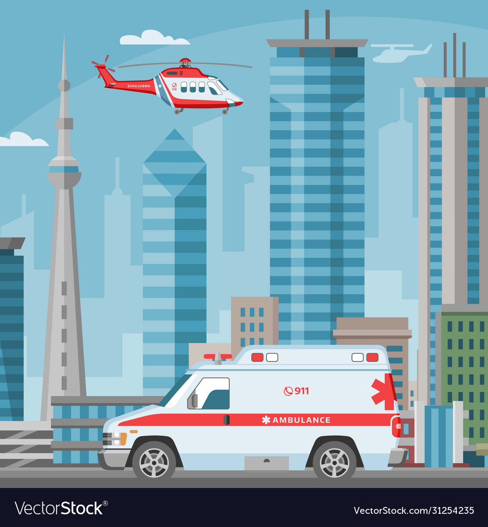 Ambulance car and helicopter medical emergency