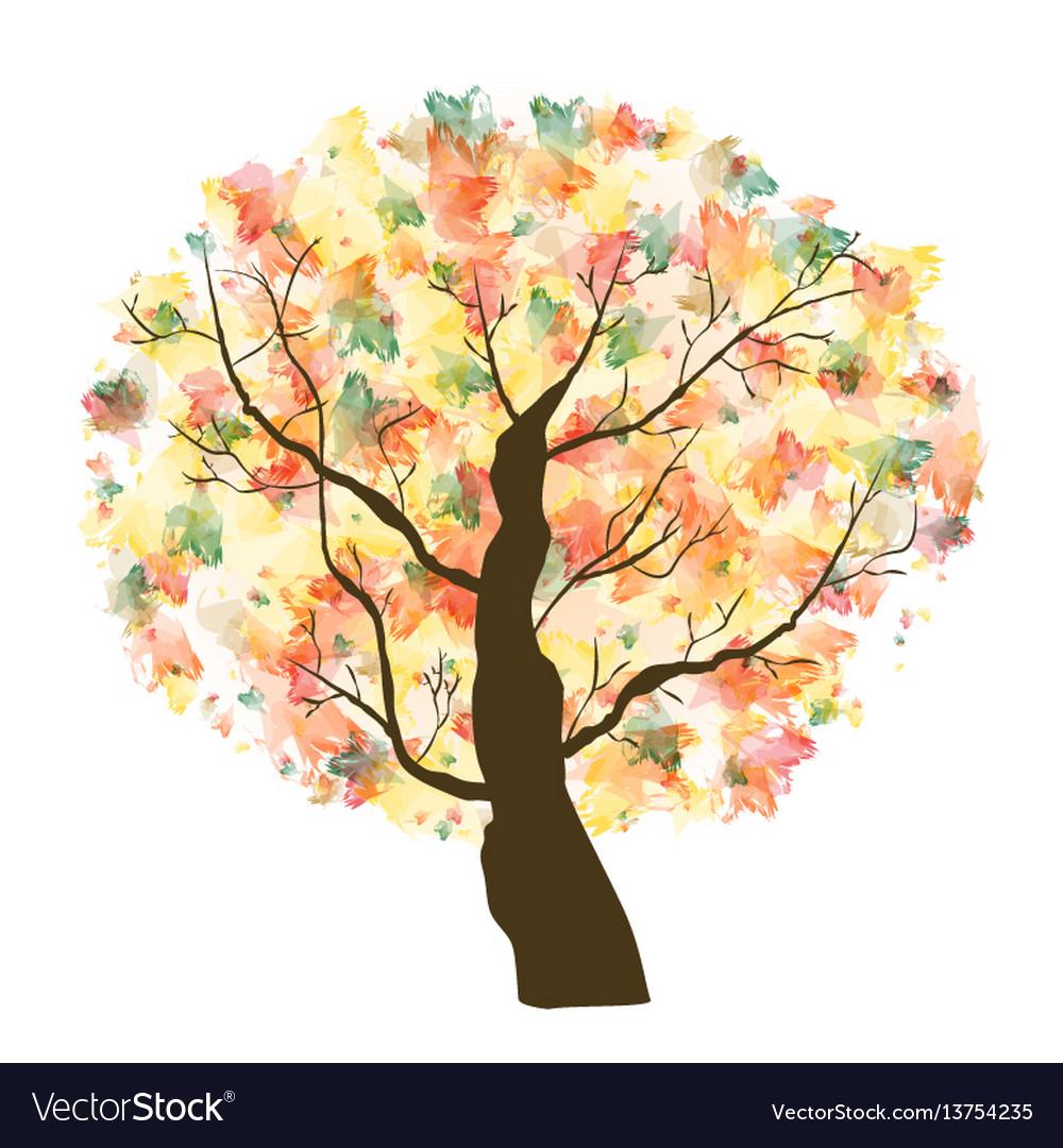 Autumn paint textured art tree