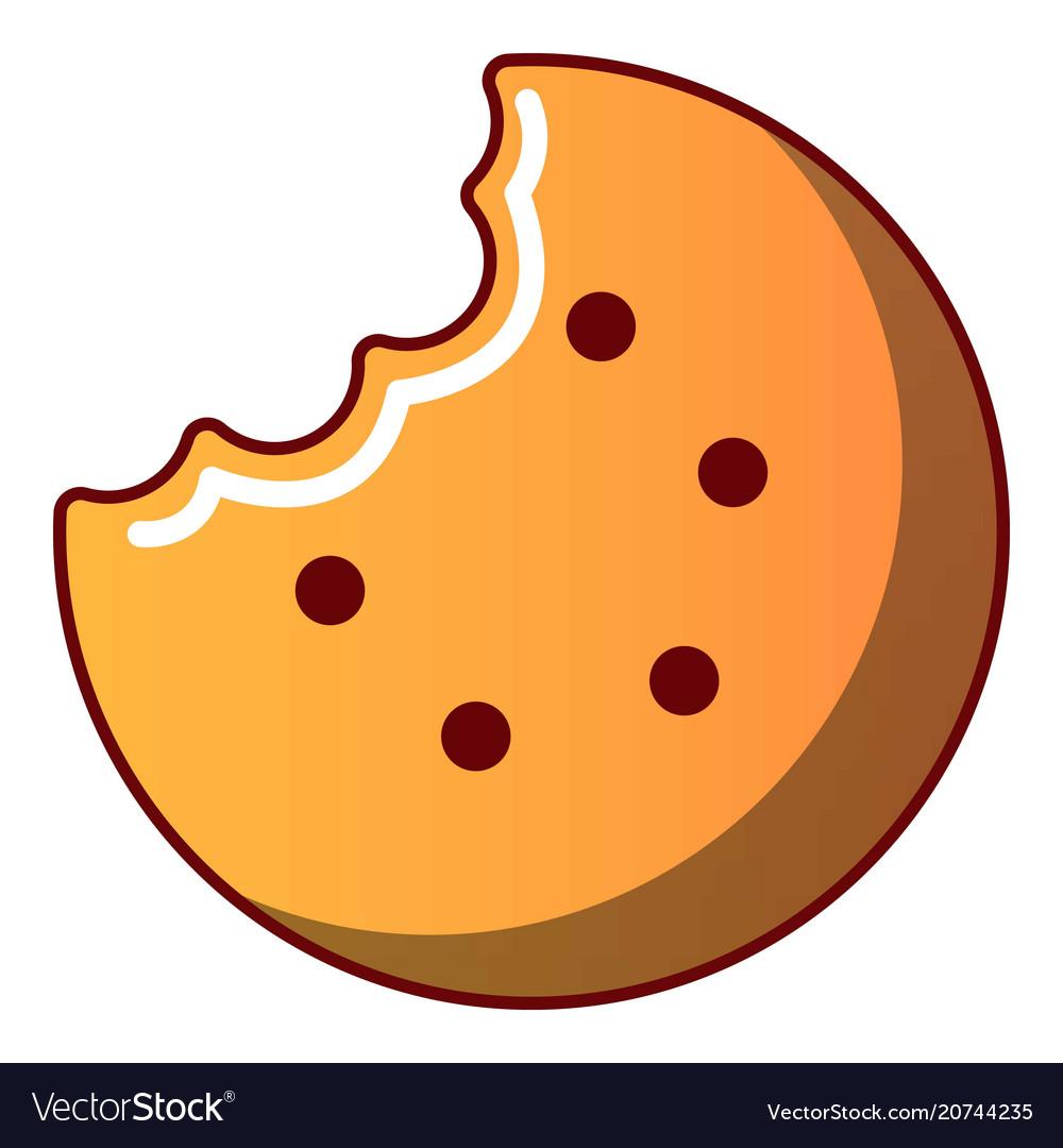 Bitten biscuit icon cartoon style
