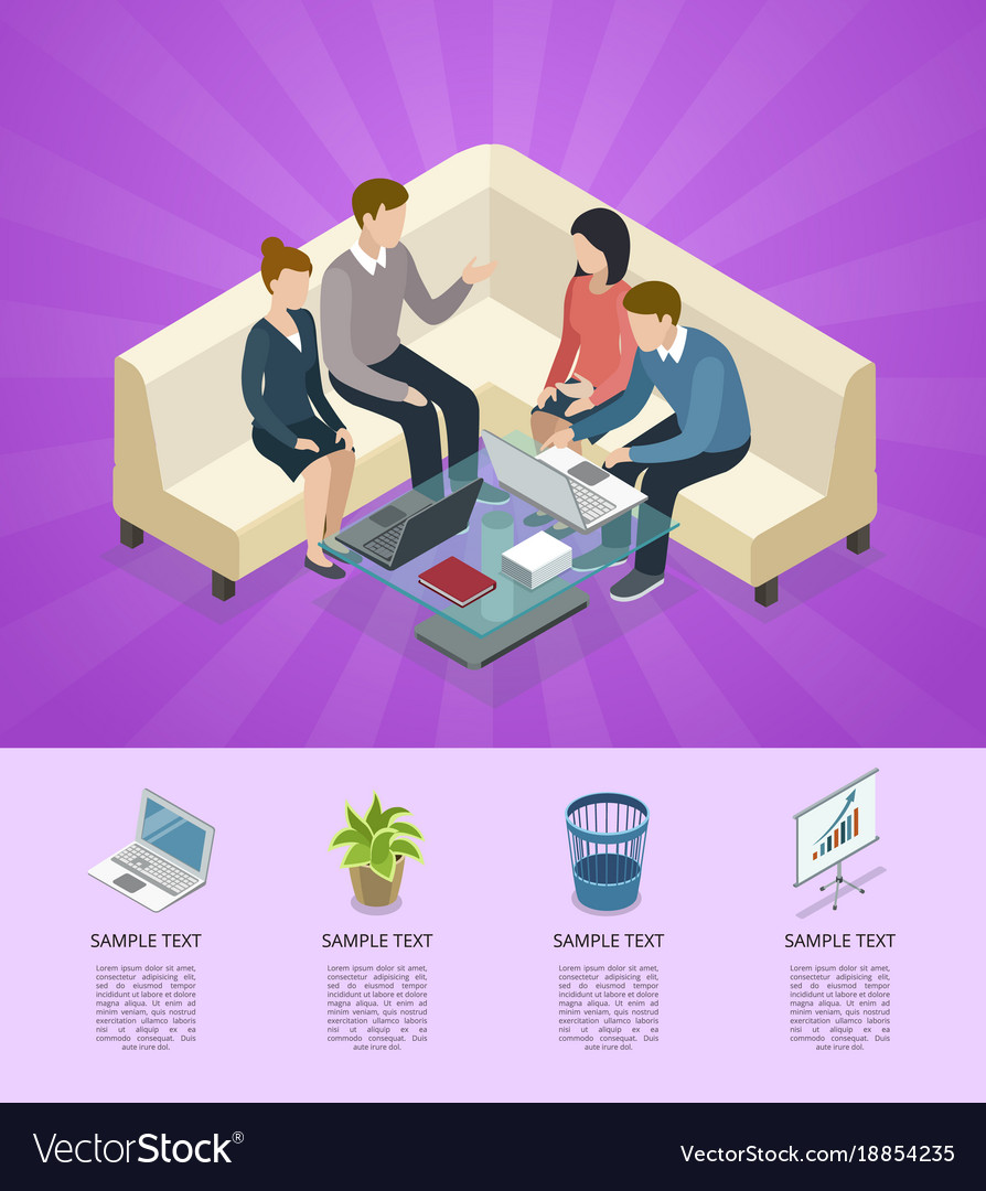 Business meeting isometric 3d infographics