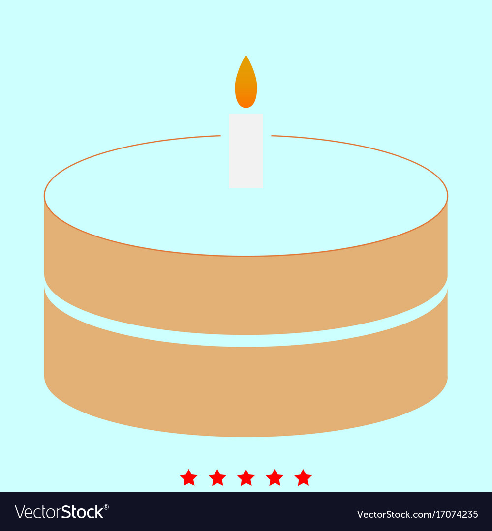 Cake with candle it is icon