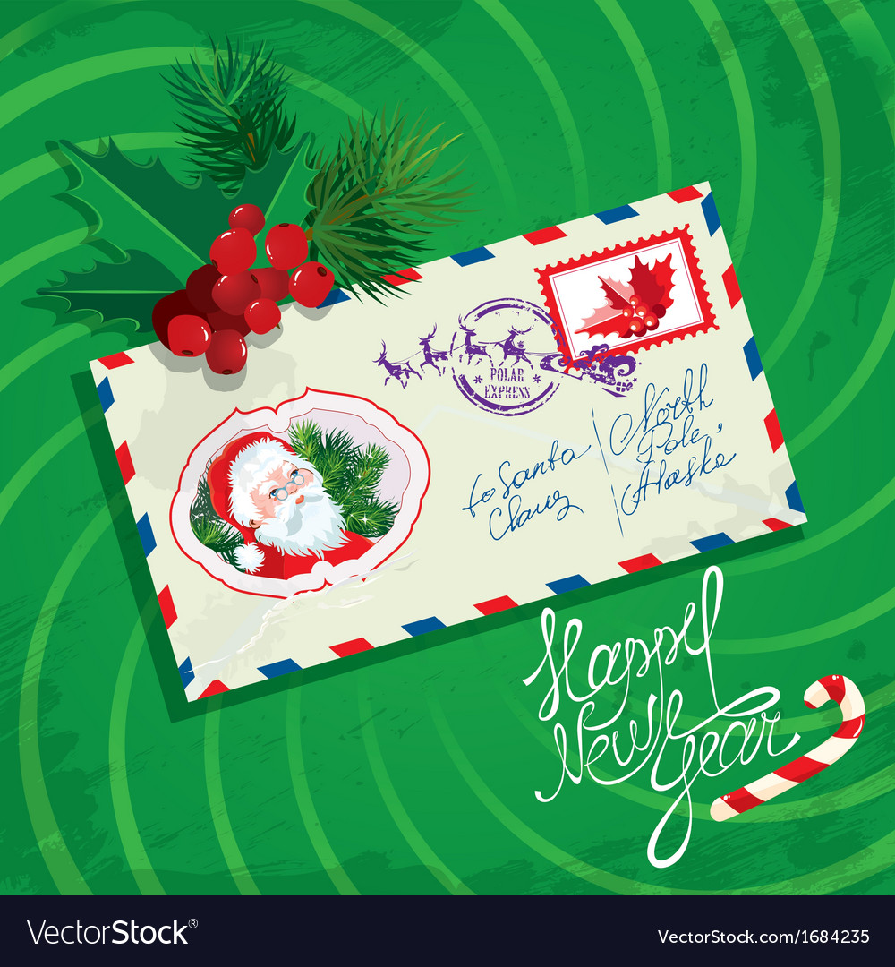 Christmas and New Year card with envelope christma
