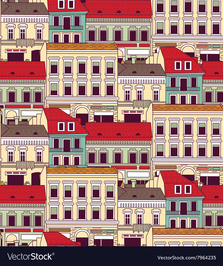 City buildings down town color seamless pattern