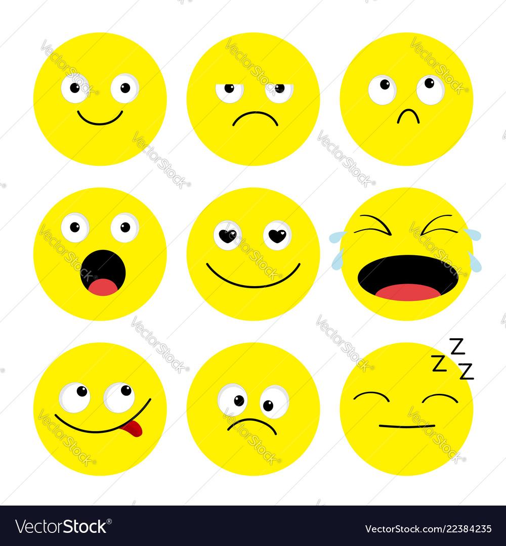 Emoji icon set emoticons funny kawaii cartoon