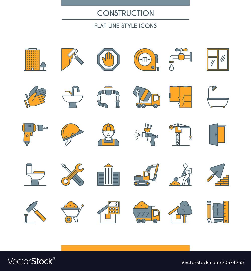 Flat line design construction icons