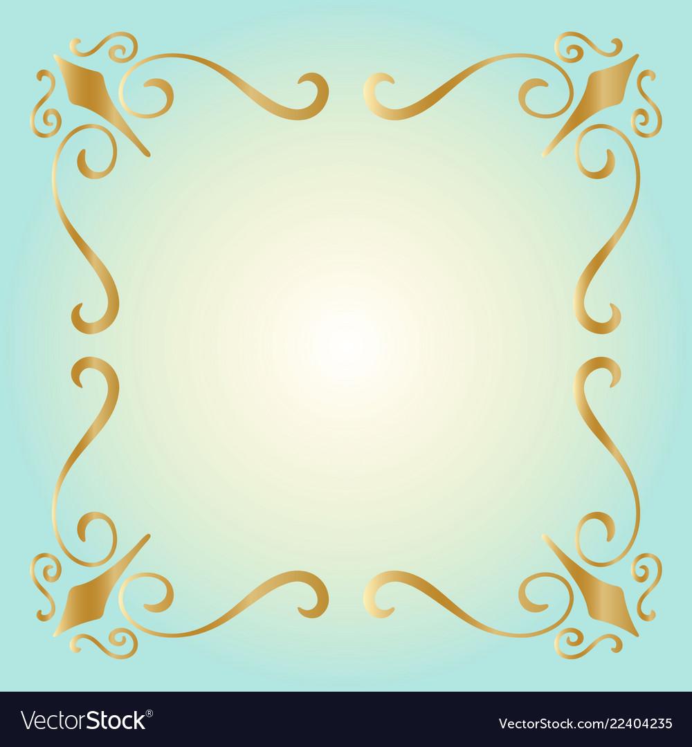 Golden square vintage style border frame