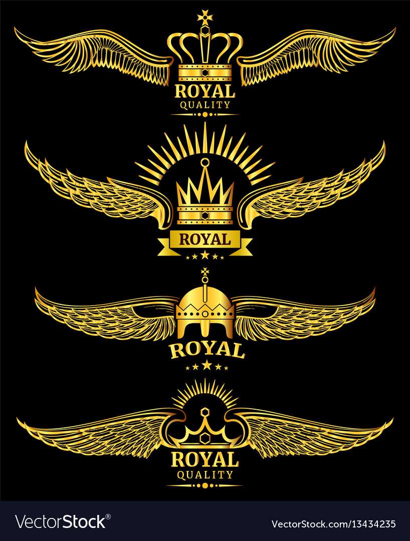 Golden wing crown royal logo vector image