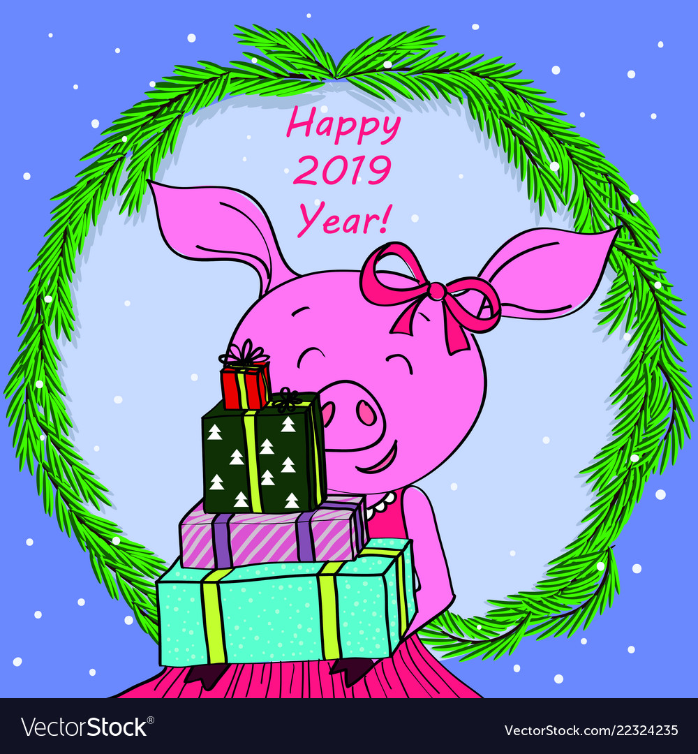 happy new year card cartoon pig in spruce vector image