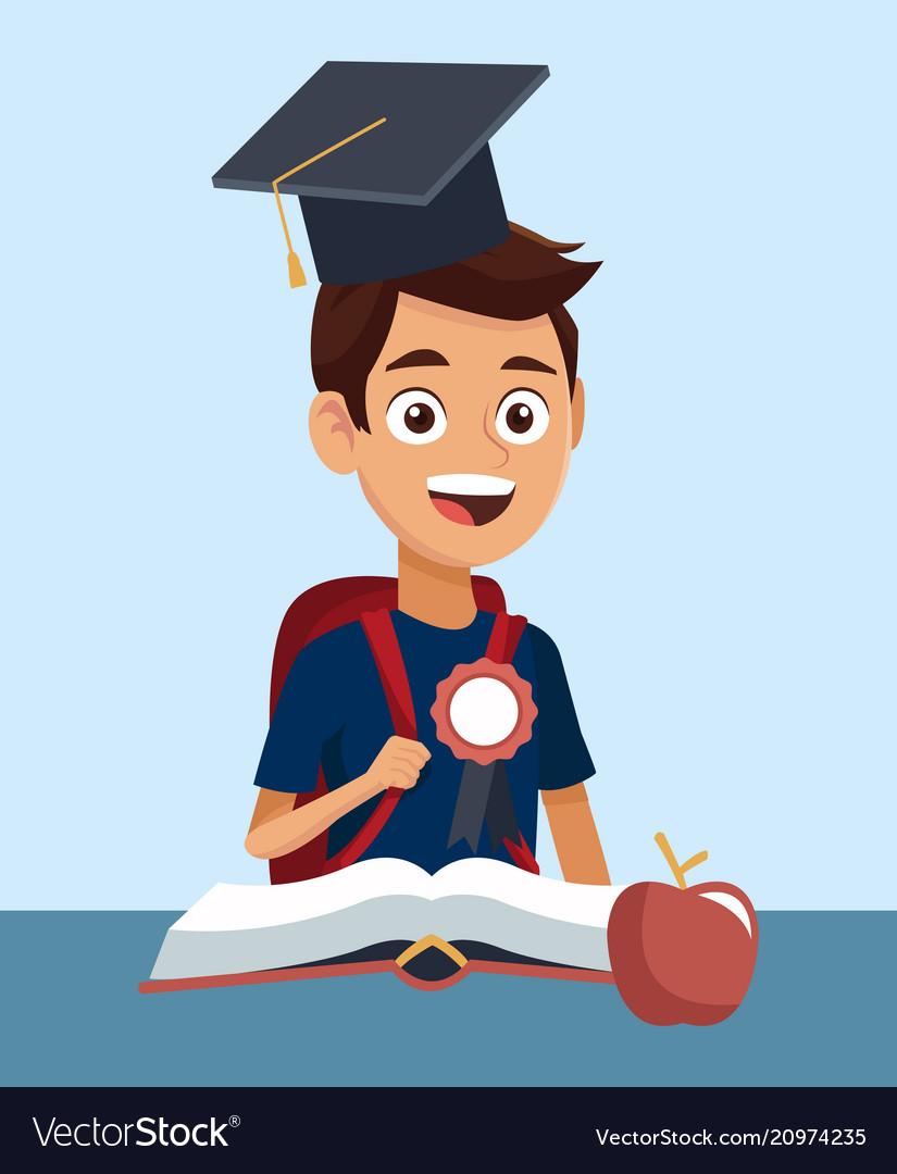 High School Education Cartoon Royalty Free Vector Image