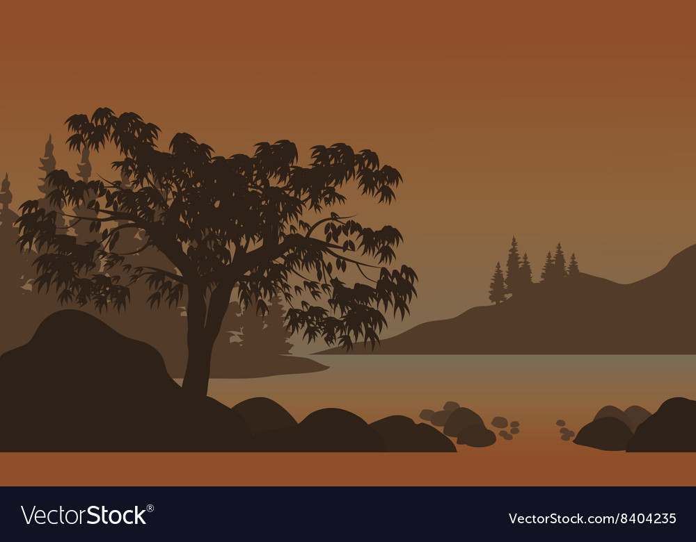 Night Landscape Mountains River and Trees