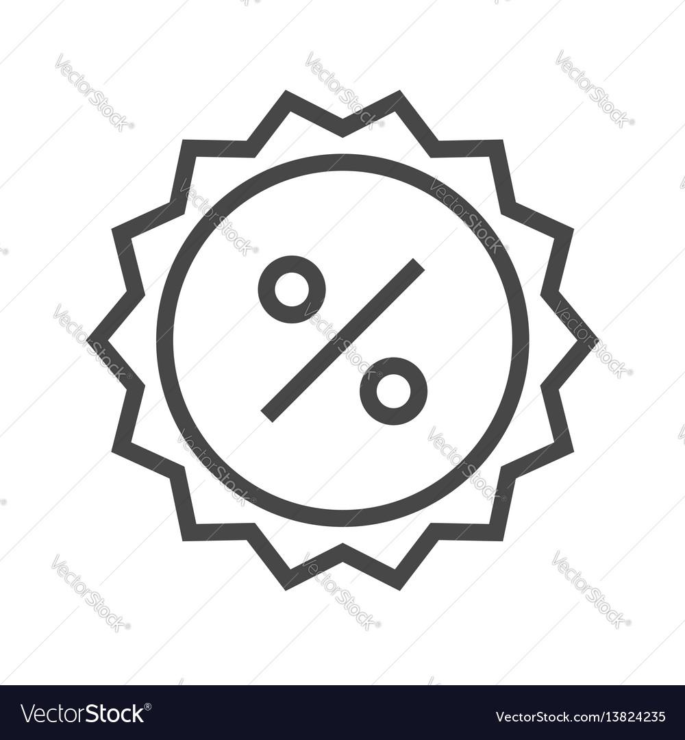 Percent badge thin line icon