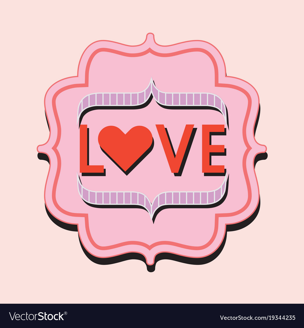 Retro and vintage pink and red love word trendy vector image