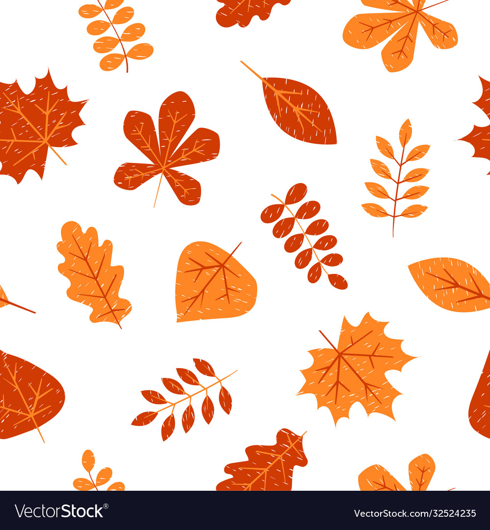 Seamless pattern with autumn leaves creative