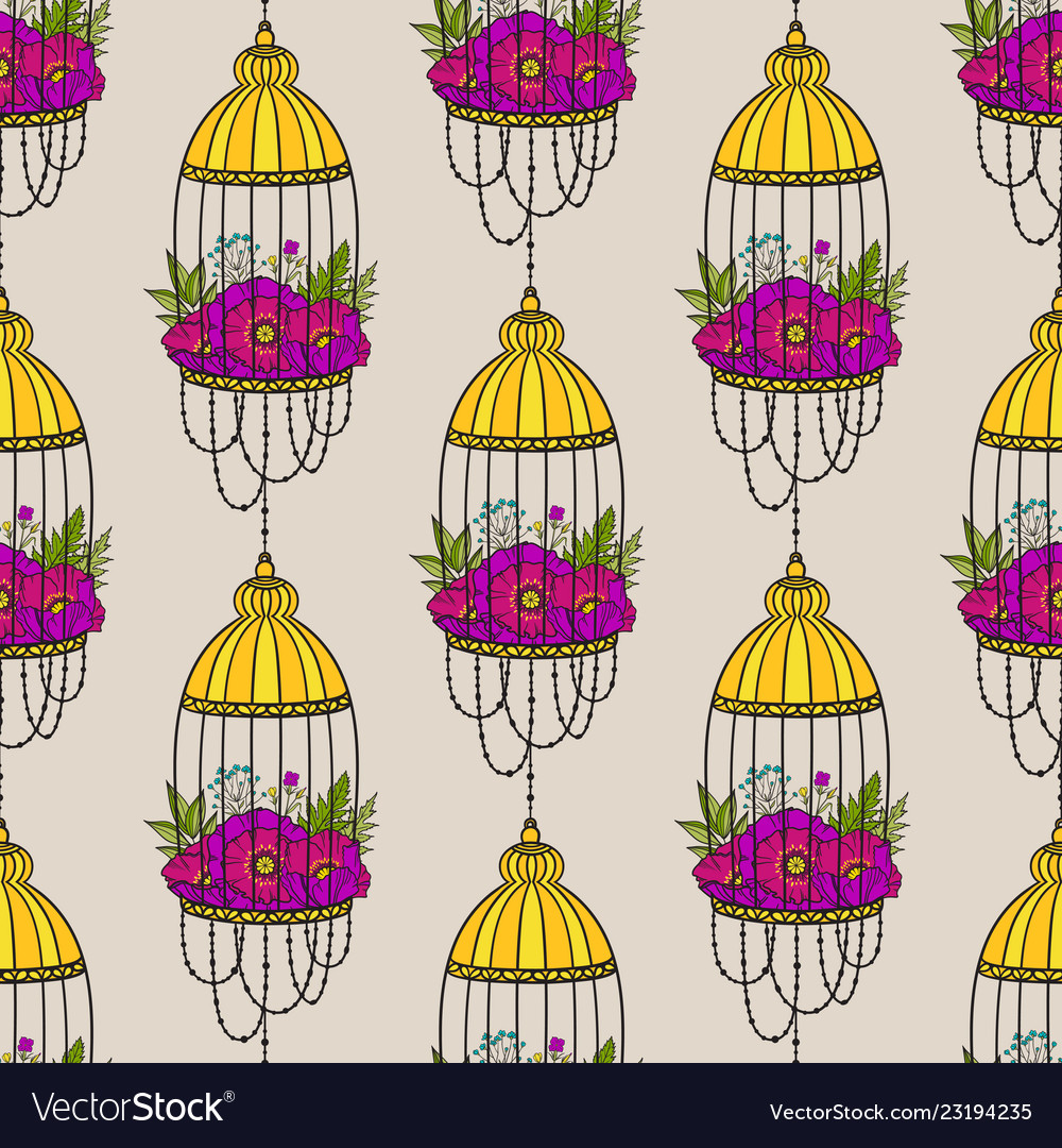 Seamless pattern with bird cages and poppies