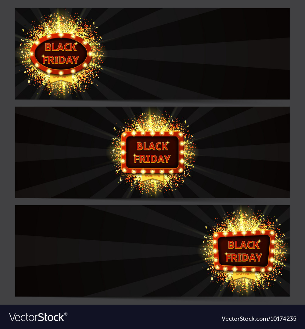 Set of horizontal banners with glowing lamps for