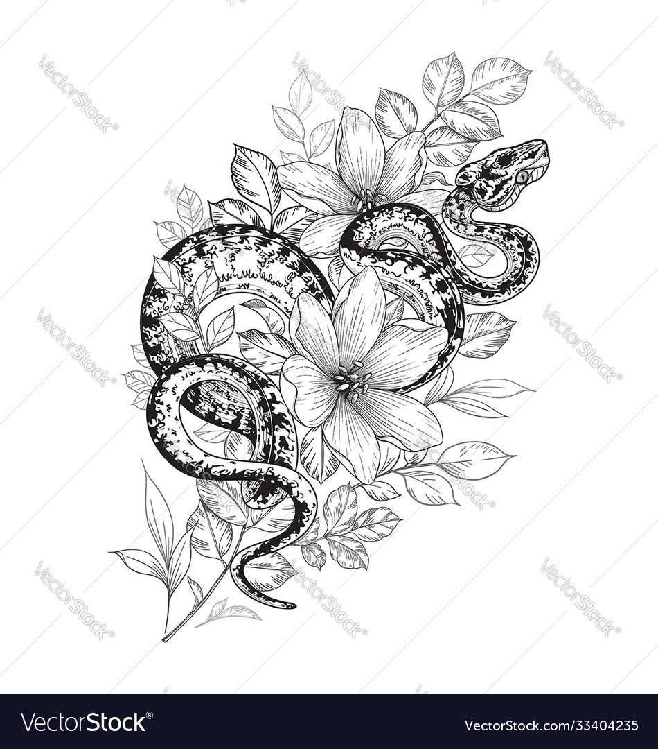 Twisted snake among flowers