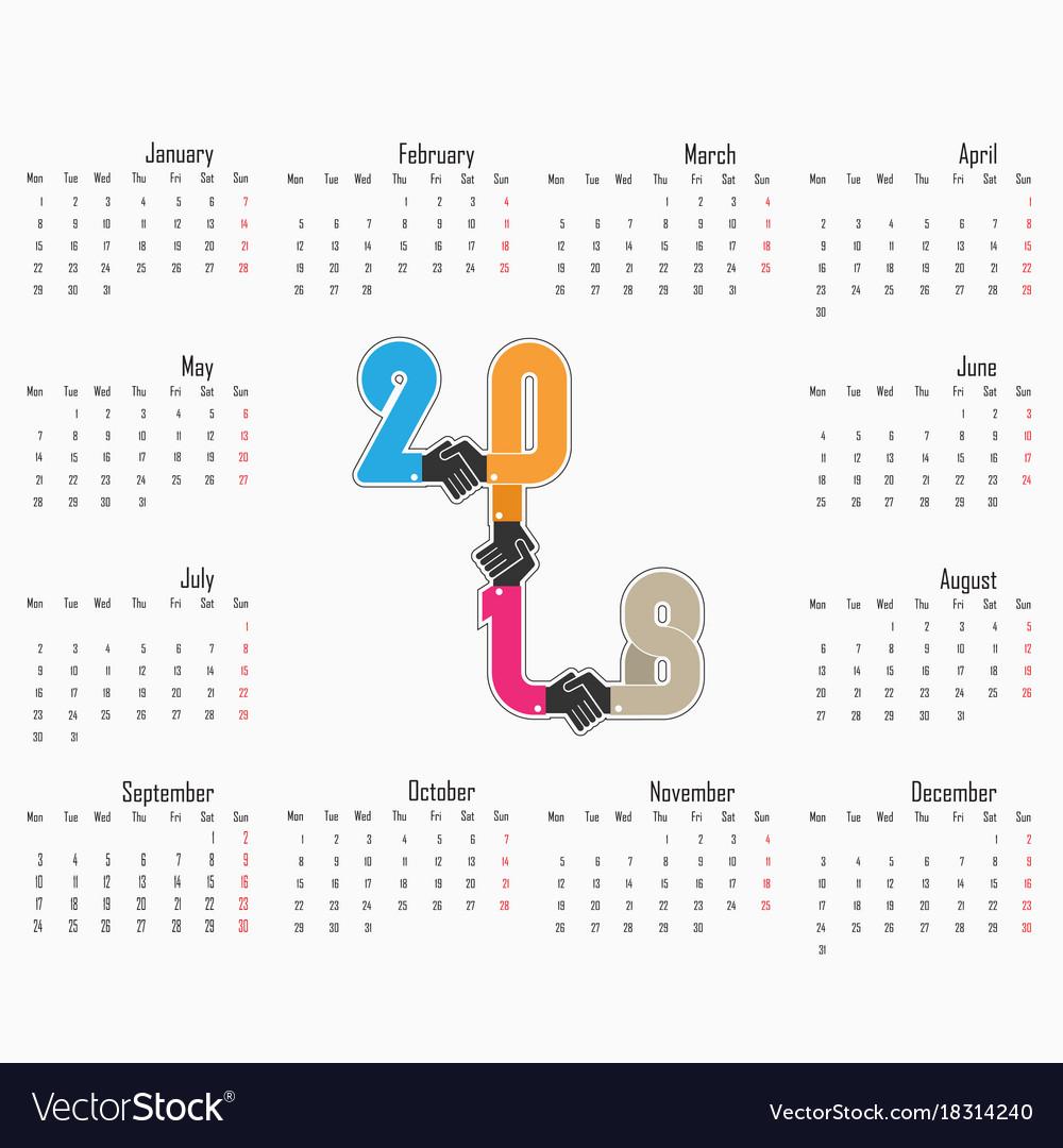 2018 calendar templatecalendar for 2018 year