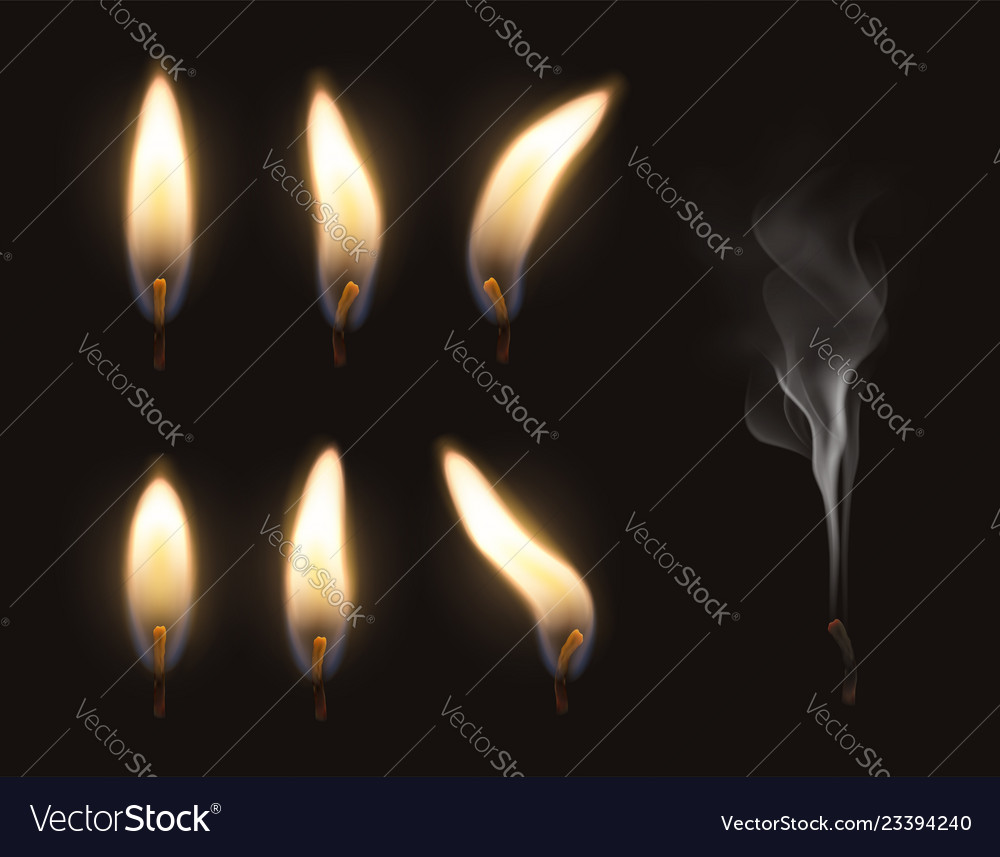 3d realistic candle fire flame set