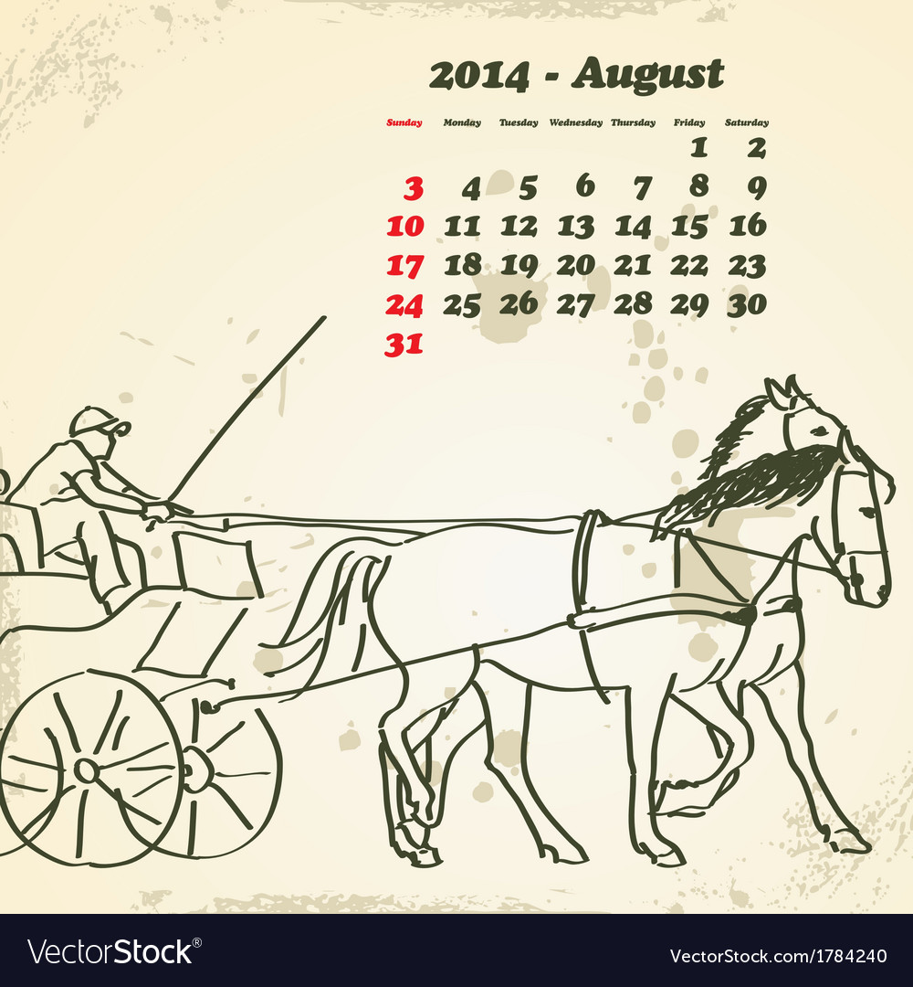 August 2014 hand drawn horse calendar vector image