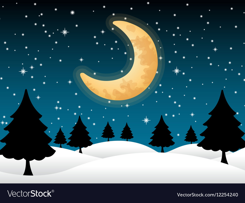 Background moon and stars night christmas