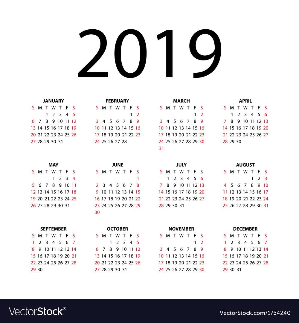 Calendar for 2019 vector art - Download Calendar Page vectors ...
