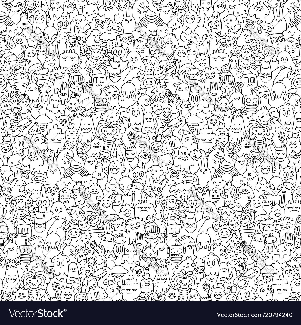 Doodle monsters pattern