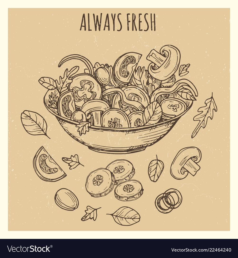 Fresh green salad vintage banner poster background