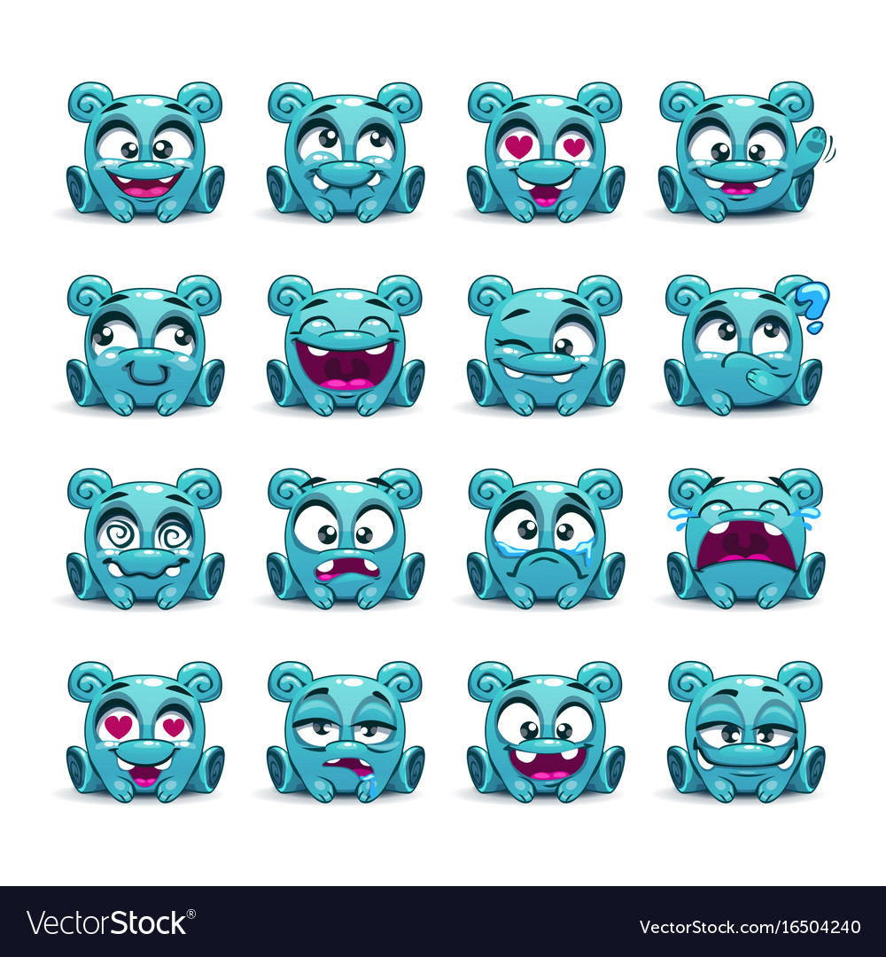 Little cute funny blue alien with different vector image