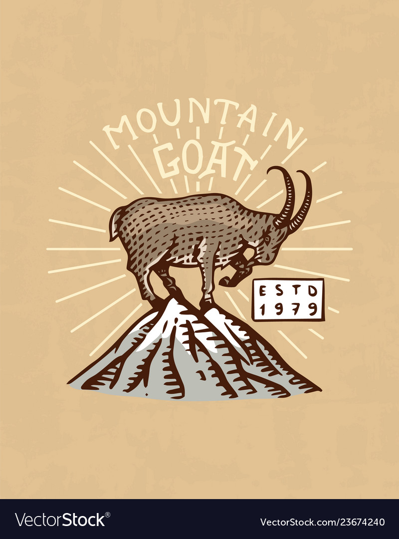 Mountains goat logo camping label trip in the