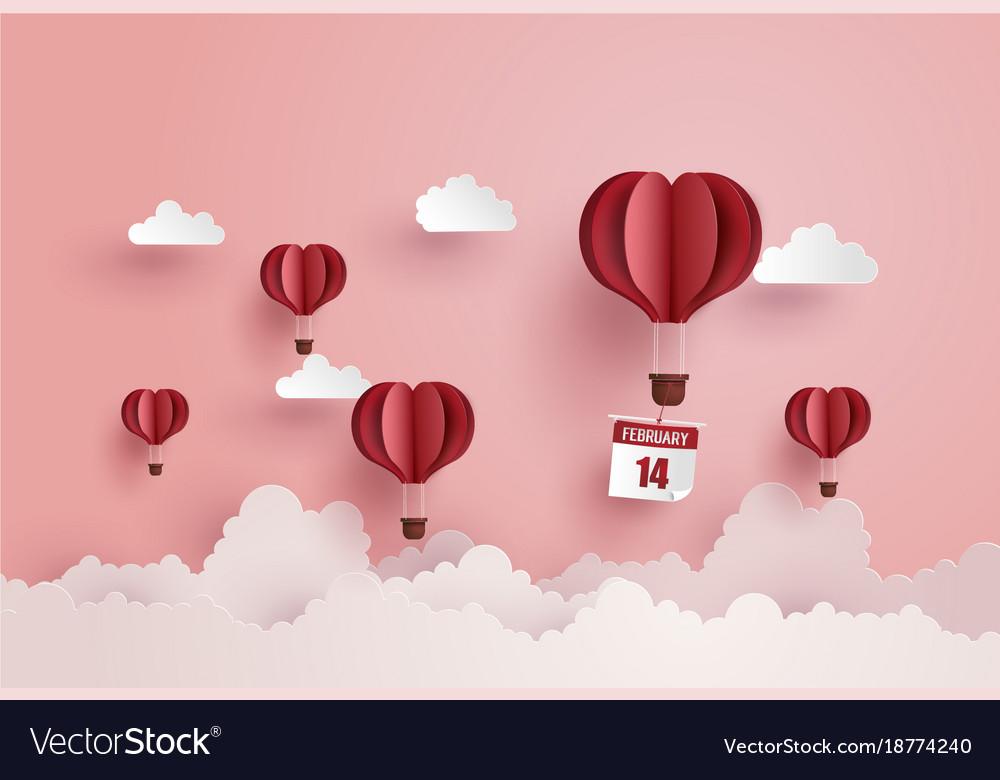 Origami Made Hot Air Balloon And Cloud Royalty Free Vector