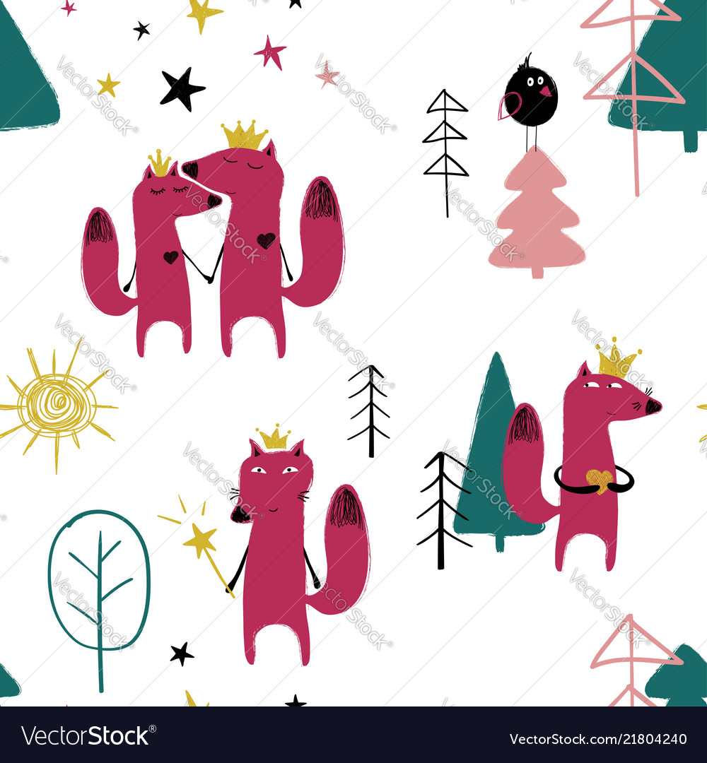 Seamless pattern with fairytale fox