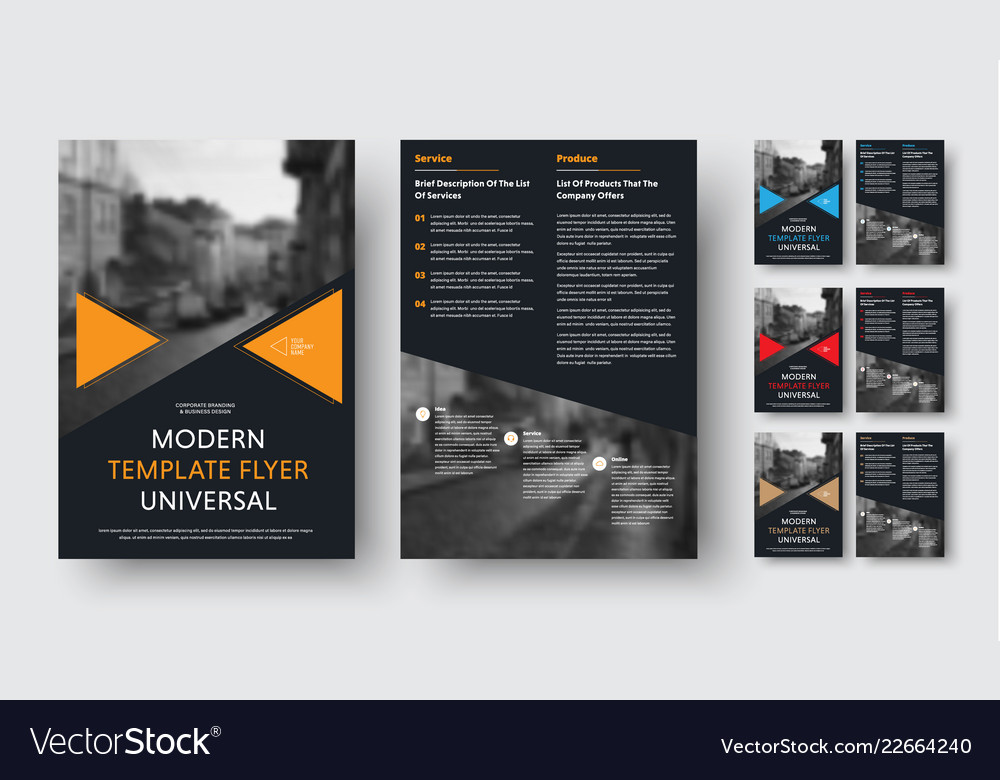 Set of black a4 flyers with triangular color