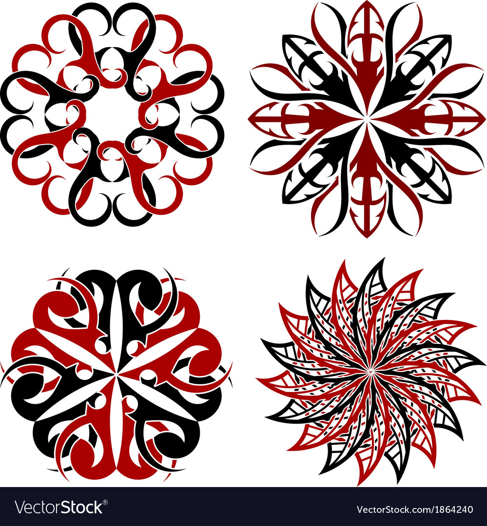 Set of round Tribal tattoo elements vector image