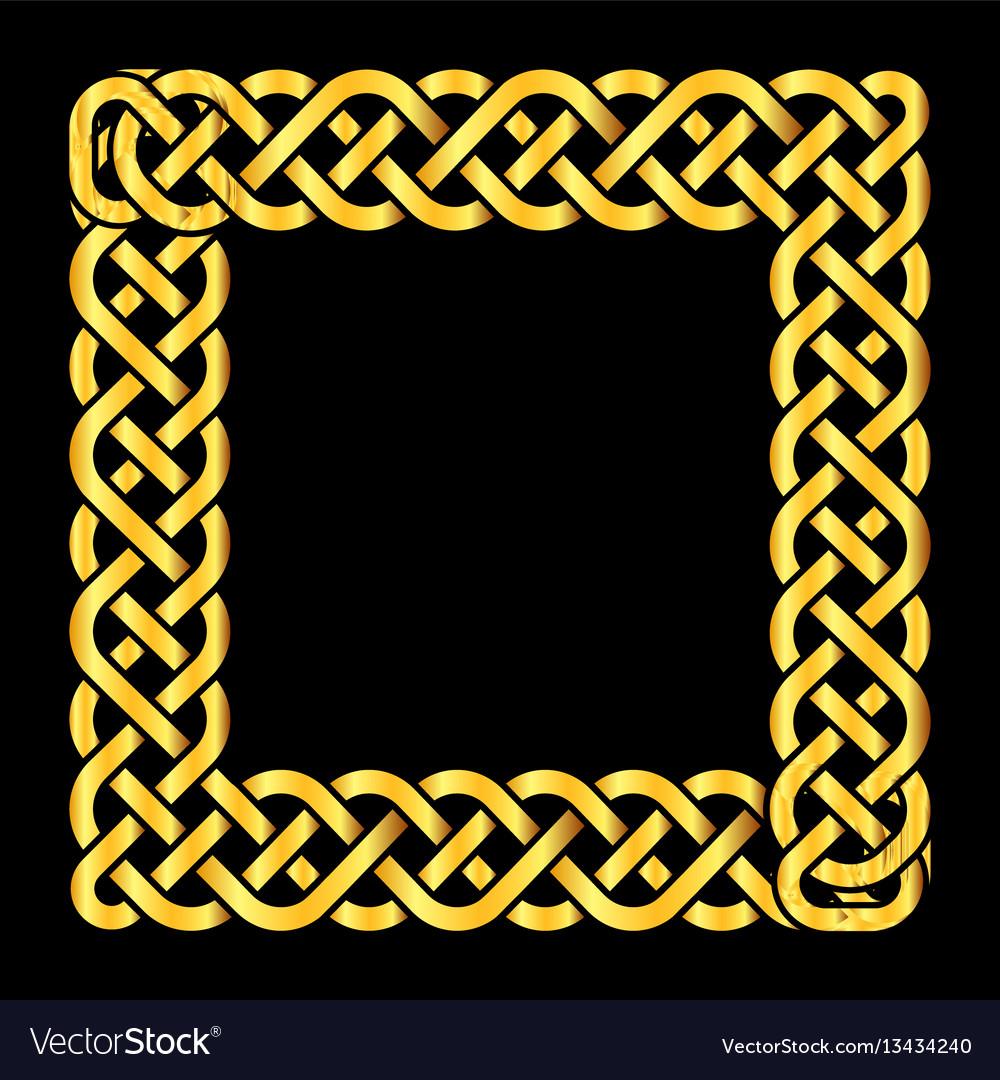 Square golden celtic knots frame vector image