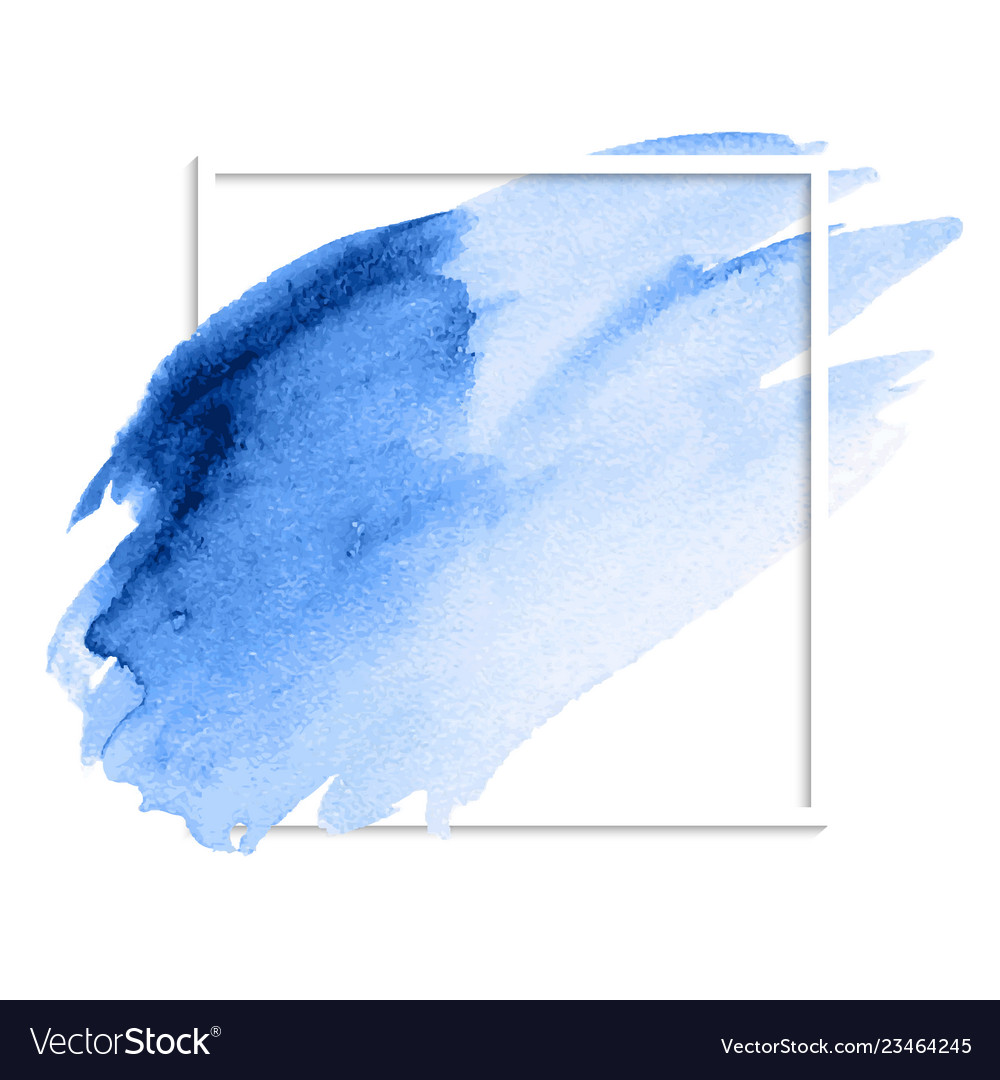 Blue abstract watercolor stain brush strokes