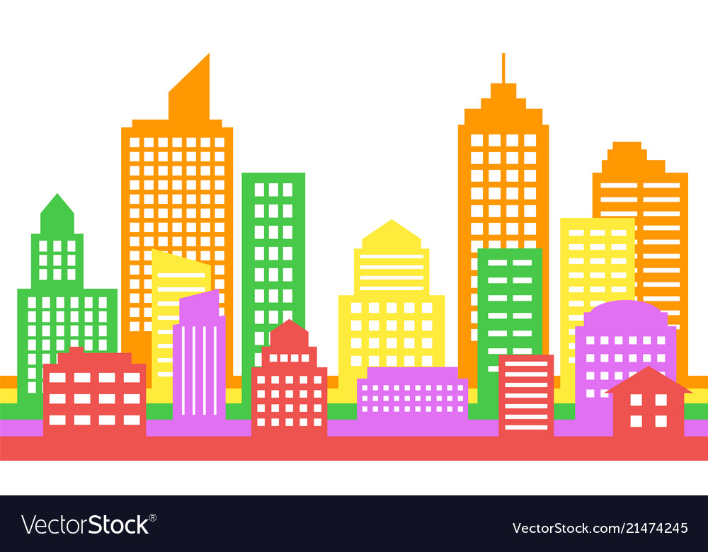 Bright colorful cityscape background modern