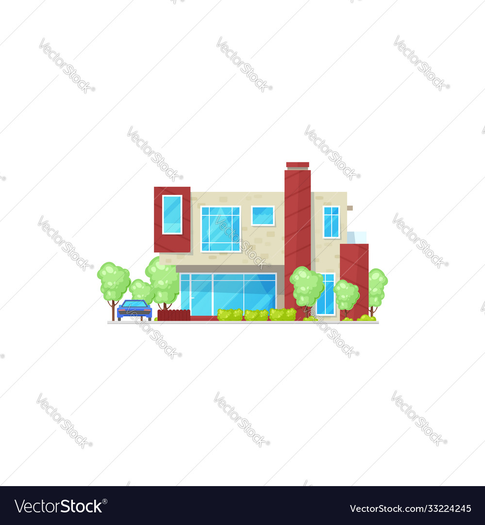 Cottage house residential hotel isolated building vector