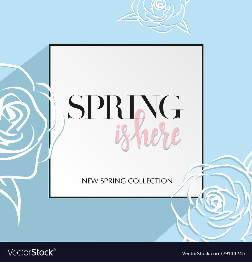 Design banner with lettering spring is here logo