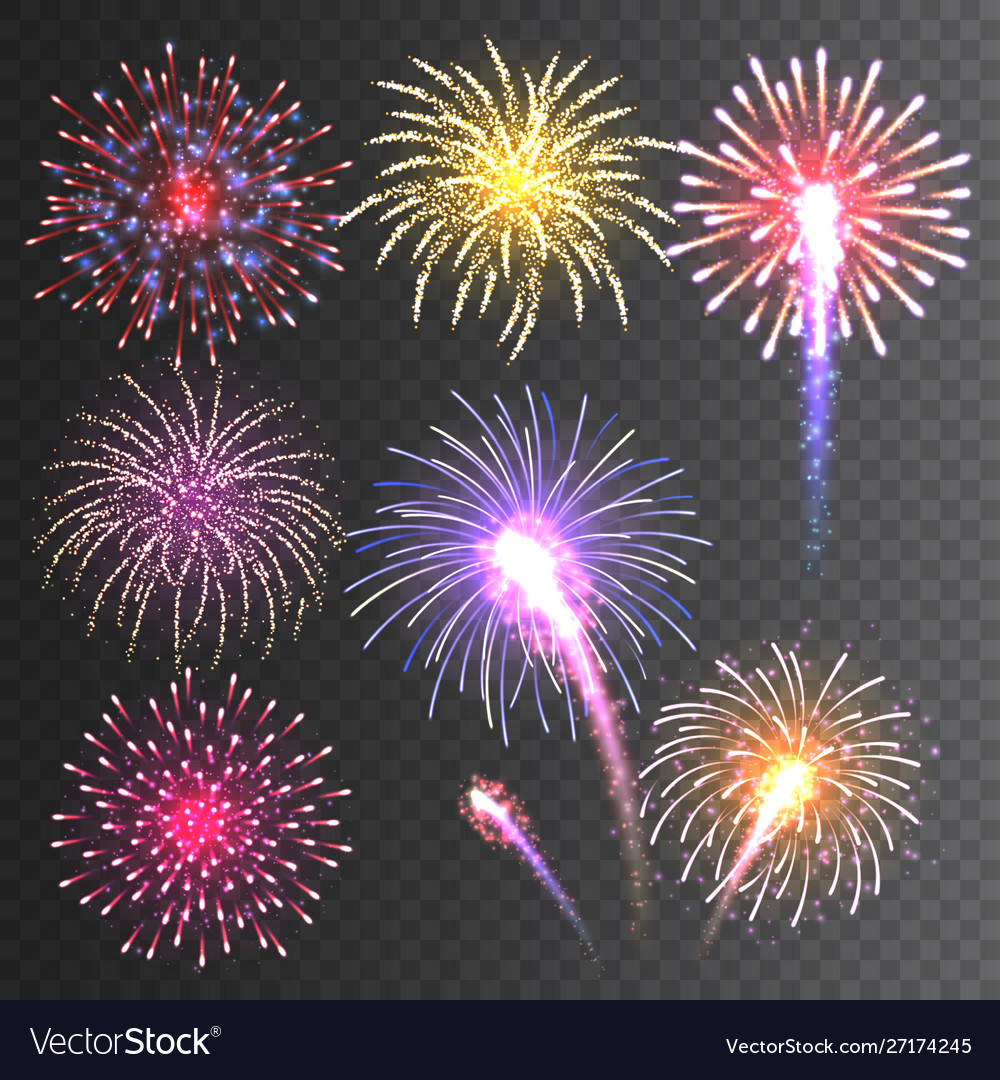 Festive fireworks collection realistic colorful