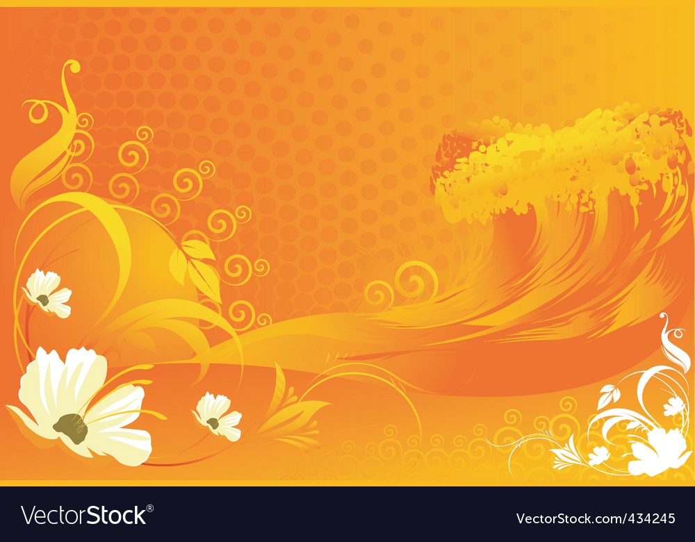 Flowers With Wave Designs Royalty Free Vector Image