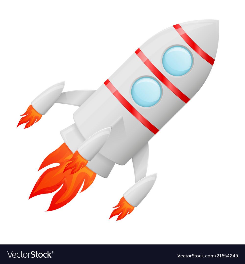 Flying Rocket Colored Cartoon Drawing Royalty Free Vector