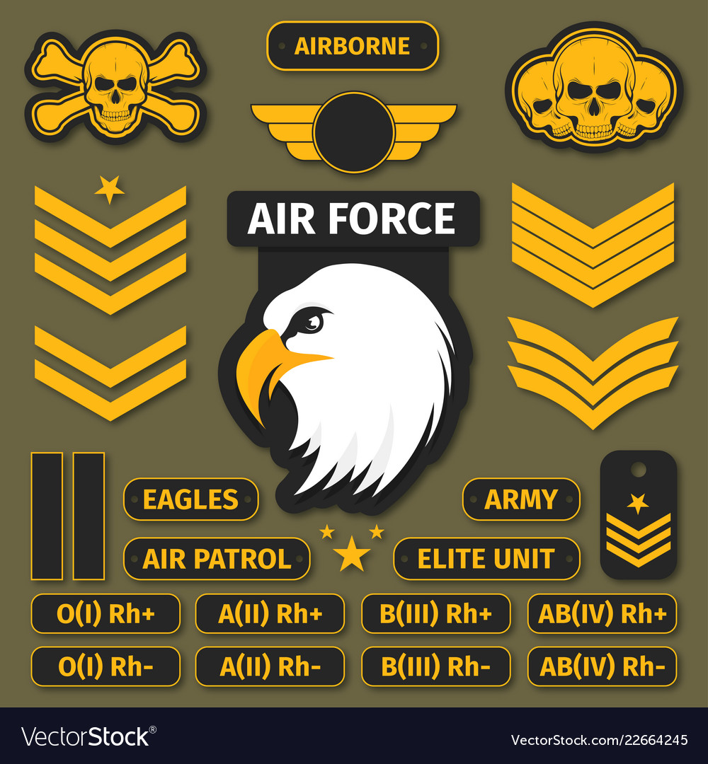 Military badges and army patches chevrons