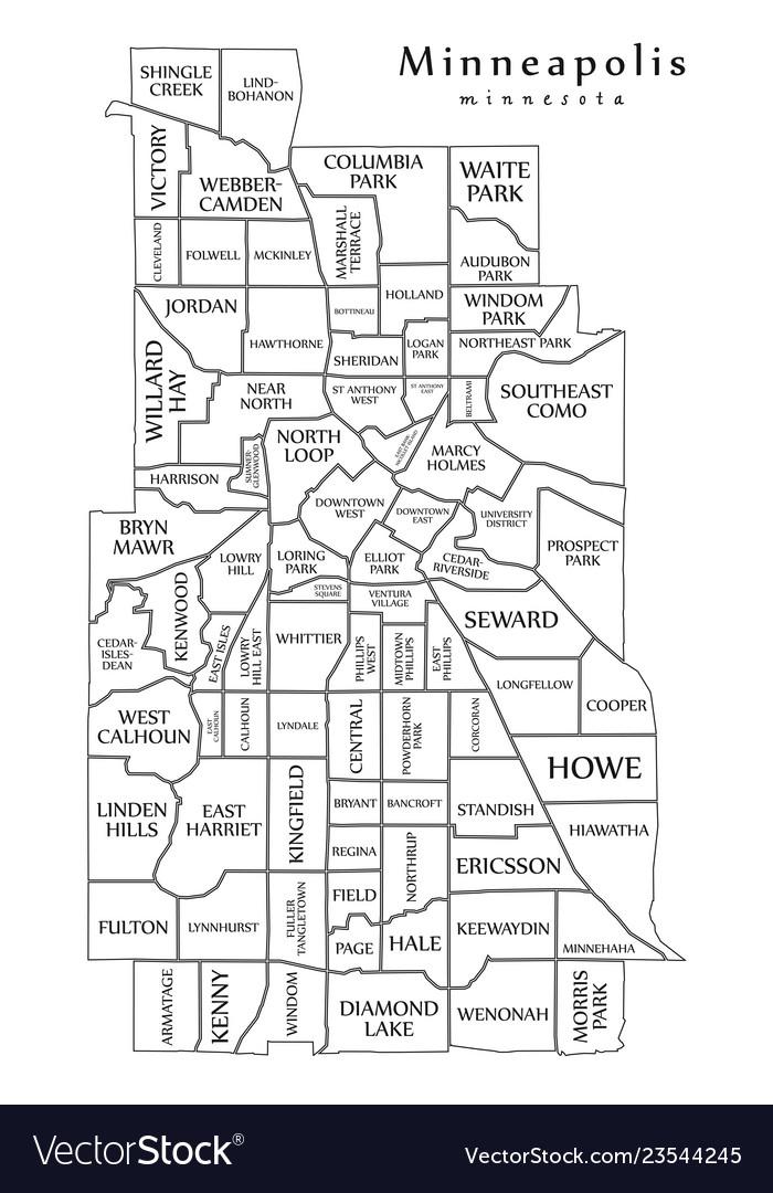 Modern city map - minneapolis minnesota city of