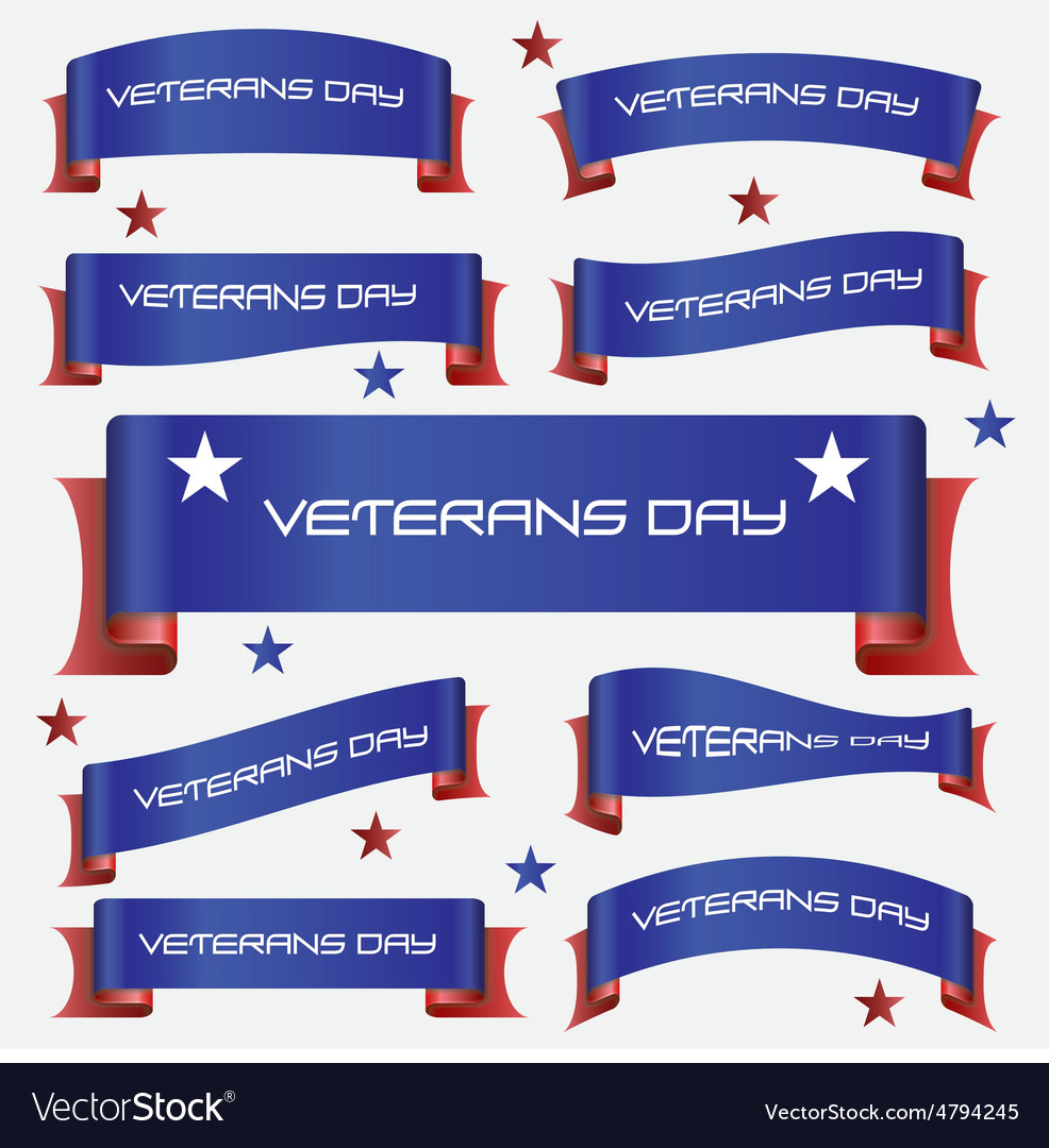 Red and blue curved veterans day ribbon banners
