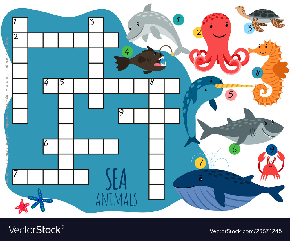 Sea animals crossword template with cartoon