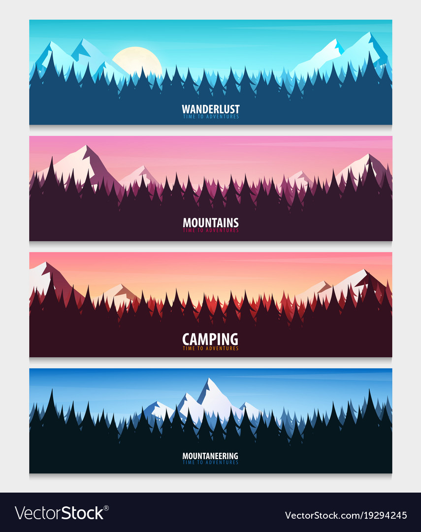 set of nature landscape backgrounds with vector image