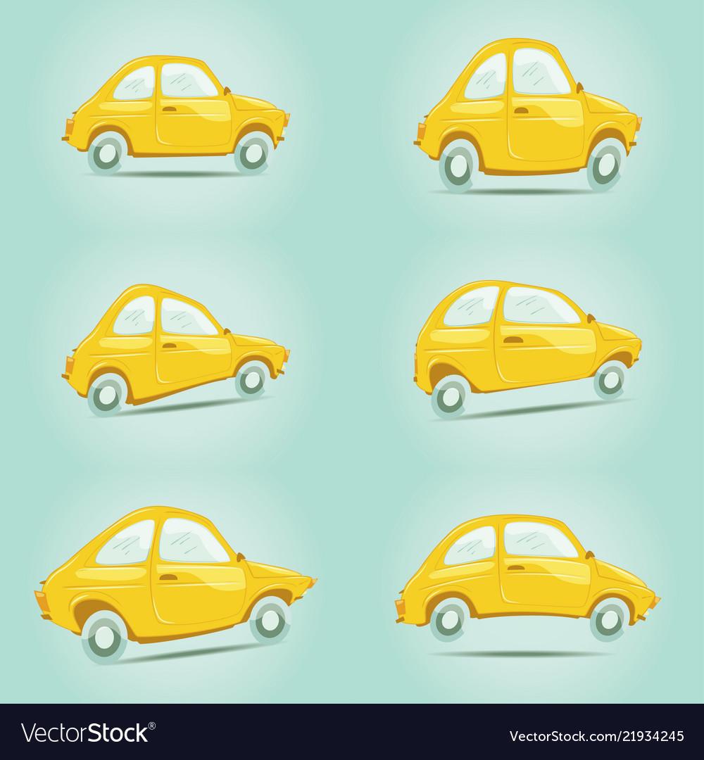 Set of yellow cartoon cars