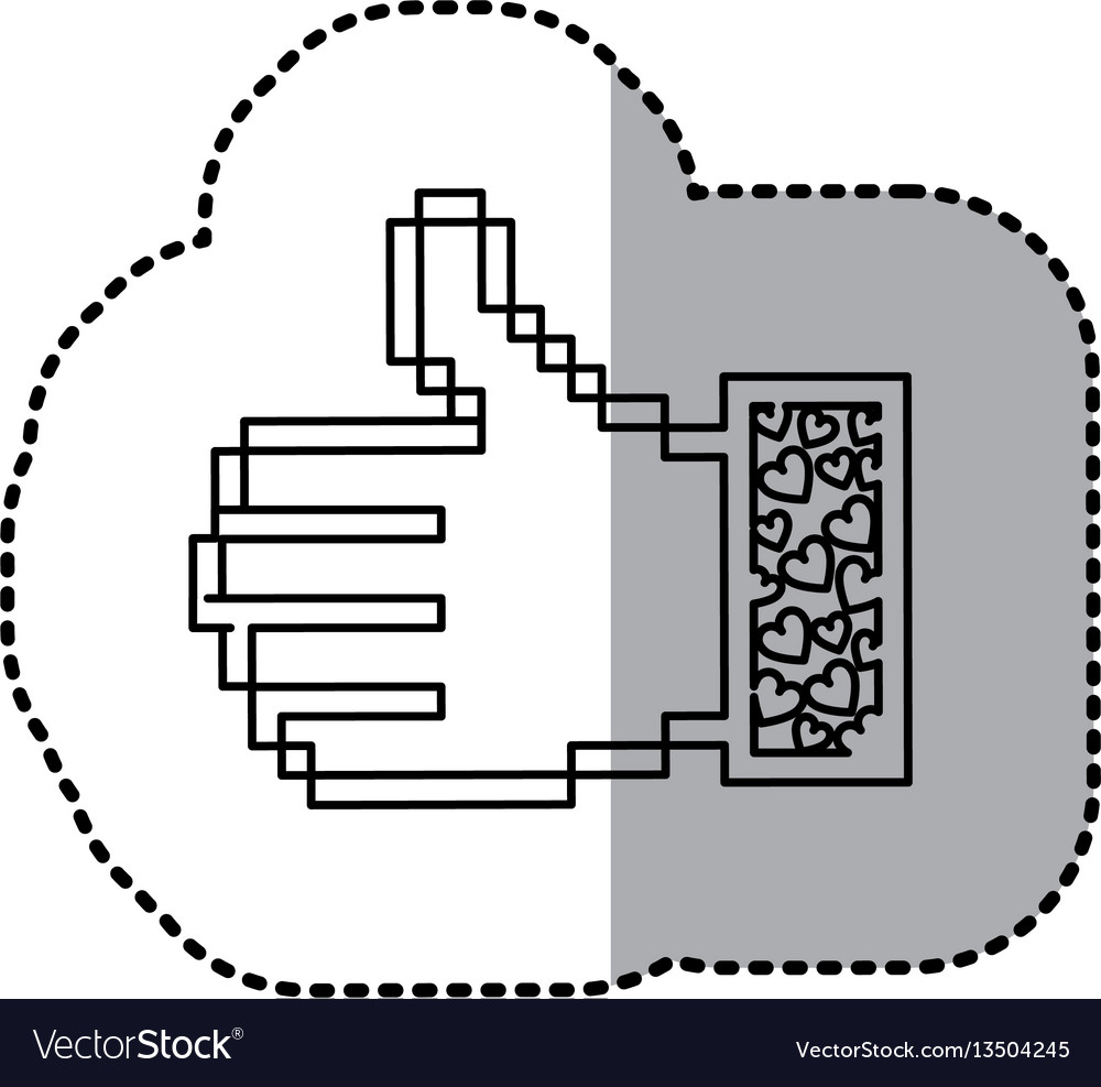 Sticker contour of pixel thumb up and sleeve with