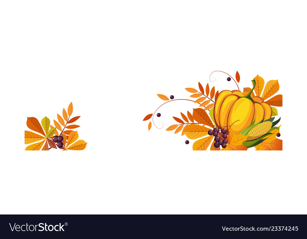 Thanksgiving banner with autumn colorful leaves