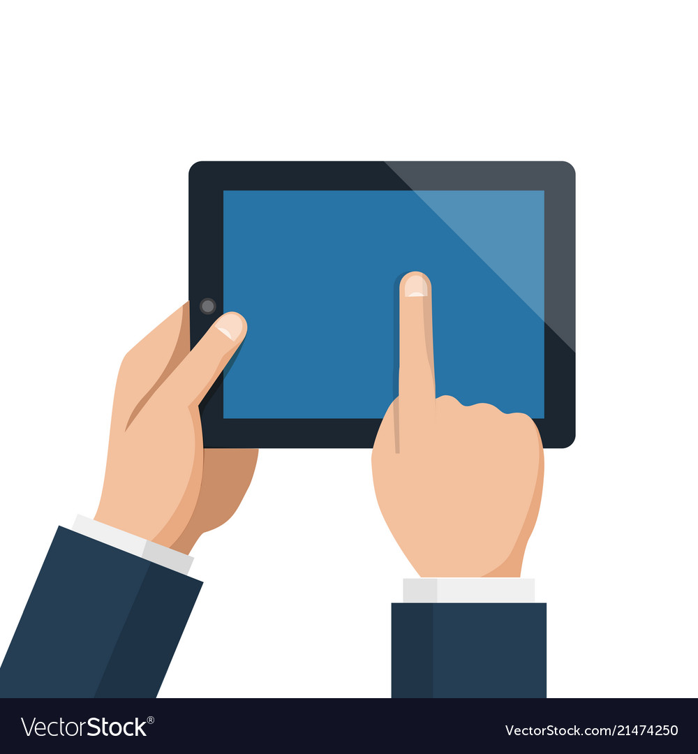 Businessman hold tablet and pointing empty blue